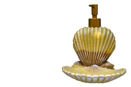 Liquid and hand-made soaps on wooden table, on white background, Shell shape