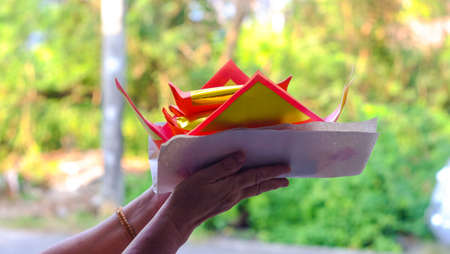 Chinese Offering Paper, Chinese traditional for burning pay respect to god or passed away ancestor's spirits for Chinese ceremony.