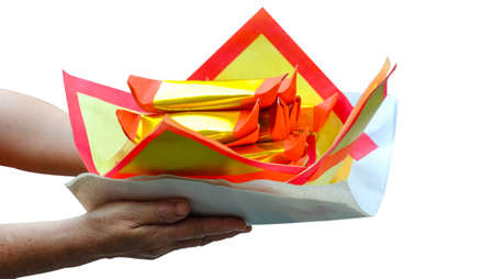 Chinese offering paper: Chinese traditional for burning pay respect to god or ancestors spirits