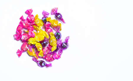 wrapped candies isolated on white background, Sweet colorful candy