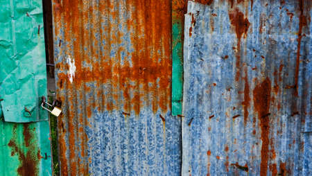 Old zinc sheets texture background, rusty on galvanized metal surface.