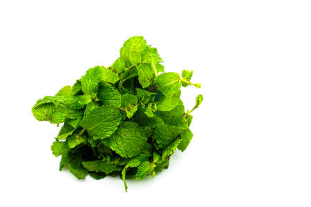 Fresh raw mint leaves isolated on white background Stock fotó