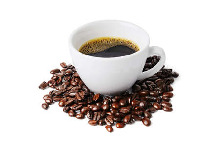 White cup of black coffee with coffee beans isolated on white background.