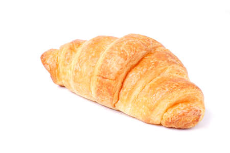 Plain croissant on white background, Delicious breakfast with fresh croissants.