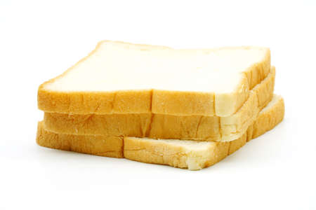 Three slices of white bread isolated on white background