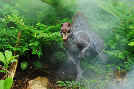 spinosaurus stands in a fog-covered forest. Spinosaurus was a really big dinosaur eating meat 版權商用圖片