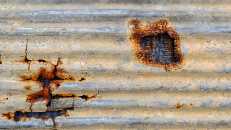 Pattern and texture of metal sheet. Rusty metal sheet texture, Old zinc wall surface background.