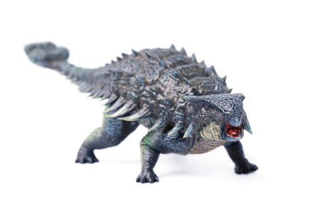 Ankylosaurus is a herbivore genus of armored dinosaur, the dinosaur from the very end of the Cretaceous period. isolated on white background. closeup dinosaur and monster model. 版權商用圖片