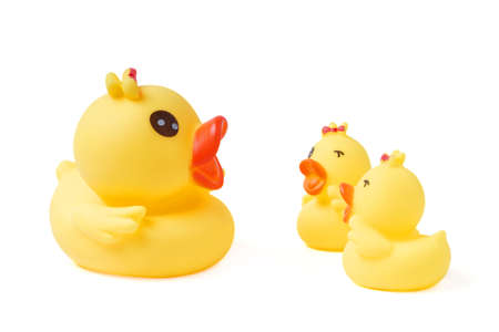 Yellow rubber duck family isolated on White Background. 