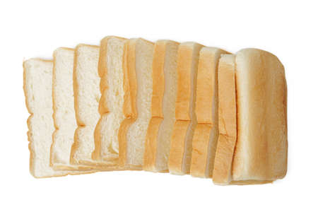 Slices of fresh delicious bread isolated on a white background.