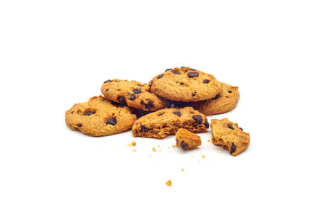 homemade chocolate chips cookies with cookie broken isolated on white background.