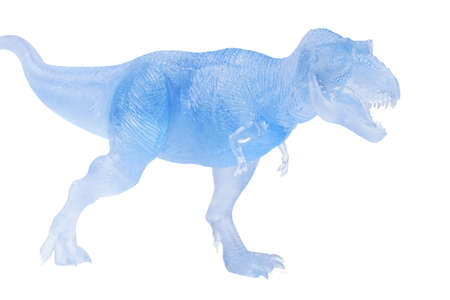 Frozen dinosaurs isolated on white background. tyrannosaurus rex dinosaurs toy.