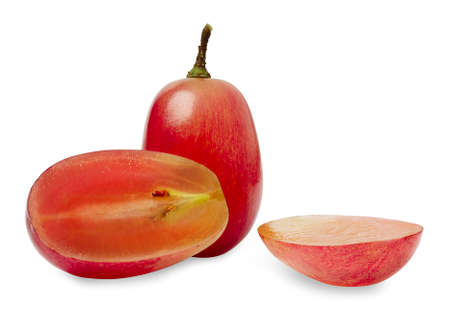 Isolated Grapes. Red grape. juicy red grapes with cut in half isolated on white background. Clipping path.