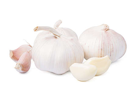 Isolated garlic.. Fresh peeled garlic cloves, bulb with garlic slices isolated on white background. clipping path.