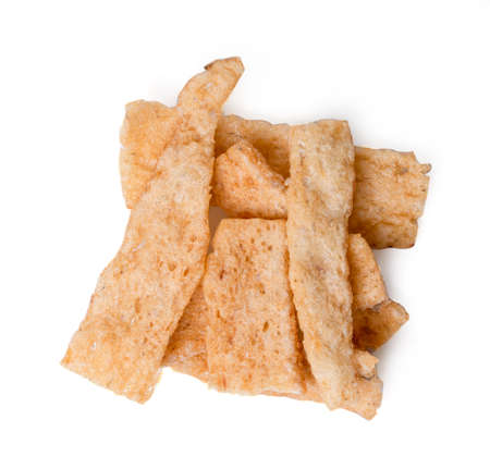 Isolated Fried rice crackers. Fish rice cracker on white dish and white background. clipping path.