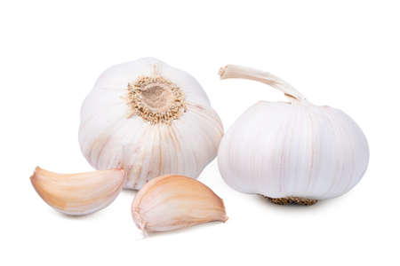 Isolated garlic. Fresh peeled garlic cloves, bulb with garlic slices isolated on white background. clipping path.