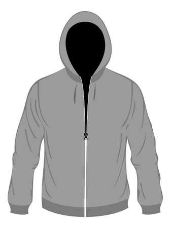 sudadera: Cap� gris  Vectores