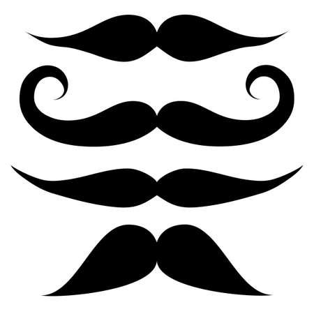 Mustache set  black and white Illustration