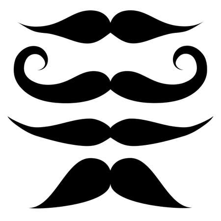 Mustache set  black and white Illustration