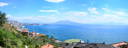 Scenic view of the city of Napoli Naples with famous Mount Vesuvius in the background, Campania, Italy Stock Photo
