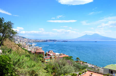 Napoli (Naples) and mount Vesuvius in the background in a summer day, Italy, Campania.