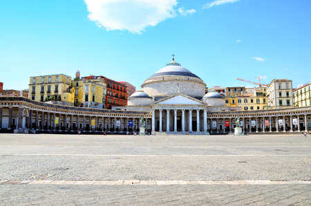 View, square and statues in Piazza Plebiscito, Naples, Italy Stock Photo