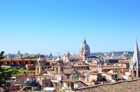 Domes of Rome and Vatican, the view from Villa Borghese.