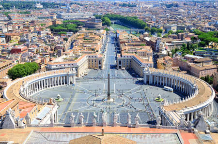 St. Peters Square, Piazza San Pietro in Vatican City. Italy. View from St. Peters Basilica dome