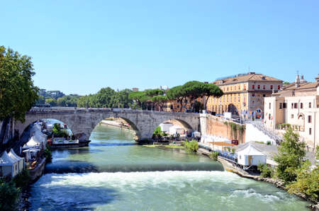 Isola tiberina - island on the Tiber river in Rome, Italy