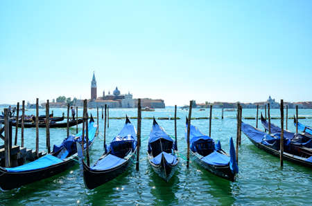 Venice with famous gondolas, Italy Stock Photo