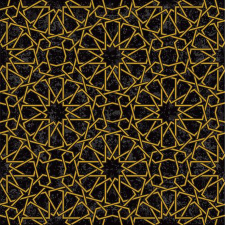 arabesco: Línea de patrón de estrella de fondo de oro en estilo árabe, ilustración vectorial