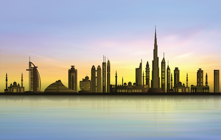 Dubai city skyline at sunset Çizim