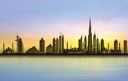 Dubai city skyline at sunset Illustration