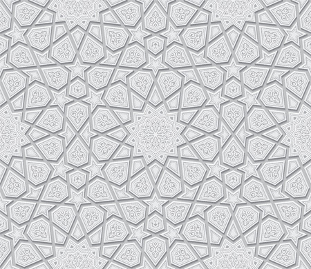 motif pattern: Islamic Star Ornament Light Grey Background, Vector Illustration