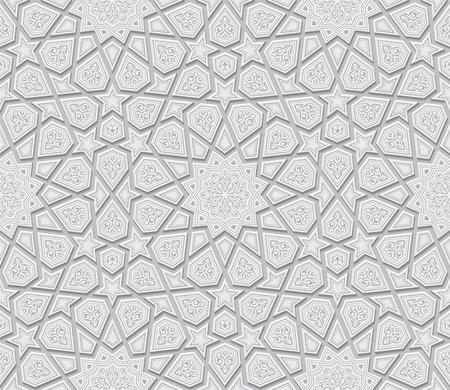 Islamitische Ornament van de Ster Licht grijze achtergrond, Vector illustratie Stock Illustratie