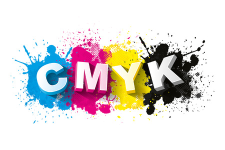 cmyk abstract: 3d CMYK letters with paint splash background, Symbol, Vector illustration Illustration