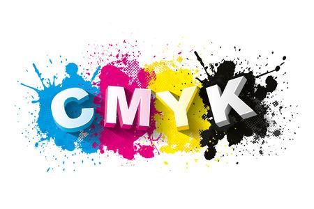 grafitis: Letras 3d CMYK con el fondo salpicaduras de pintura, S�mbolo, Vector ilustraci�n Vectores