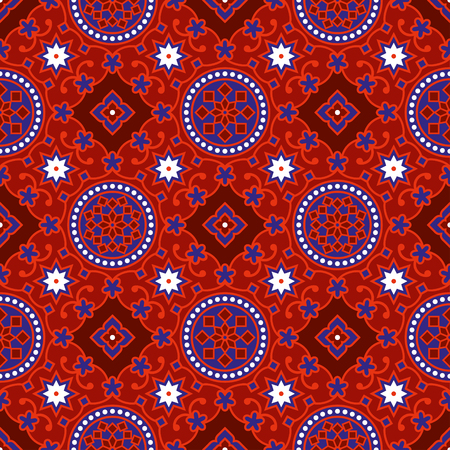 Sindhi traditional blue  red ajrak pattern background vector illustration
