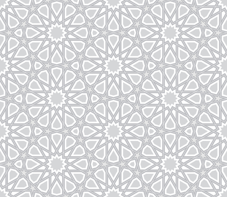 arabic background: Geometric Star Pattern, Light Grey Background, Vector Illustration Illustration