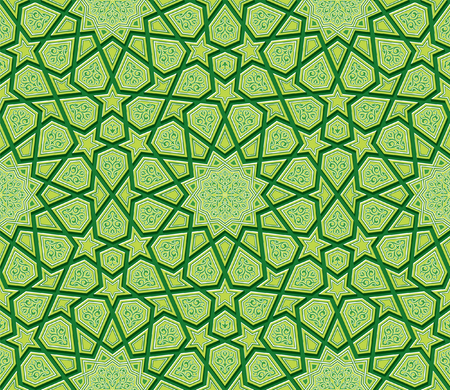 islamic pattern: Star Ornament Green Background, Vector Illustration Illustration