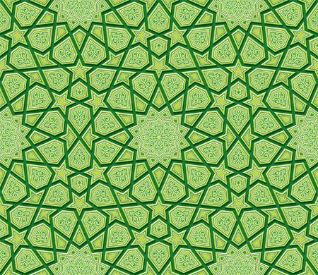 islam: Star Ornament Green Background, Vector Illustration Illustration