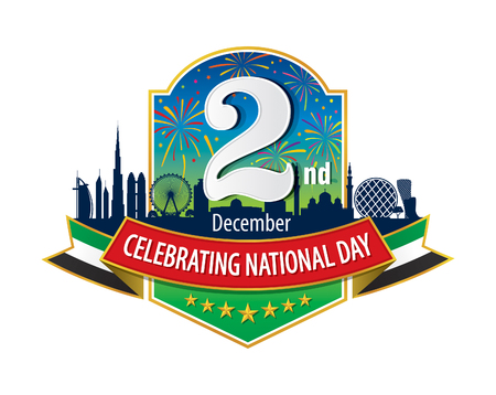 """празднование: ОАЭ 2 декабря Логотип с Skyline Фейерверк, надпись на английском языке """"Празднование Национального дня"""""""