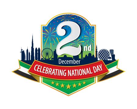 """december: Logotipo de los Emiratos �rabes Unidos 02 de diciembre con Skyline artificiales, Una inscripci�n en Ingl�s """"Celebraci�n del D�a Nacional"""""""
