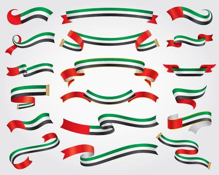アラブ首長国連邦国旗リボン設定、デザイン要素、ベクトル イラスト