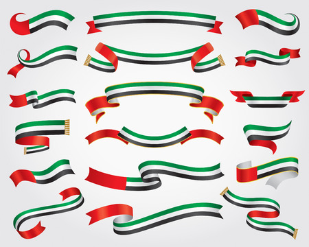 anniversary celebration: UAE Flag Ribbon Set, design element, vector illustration