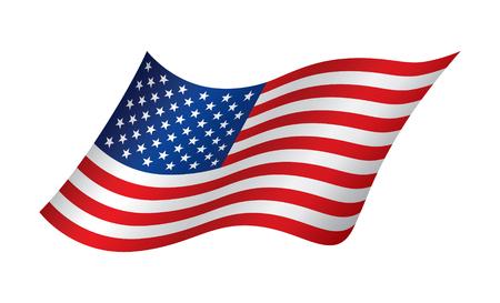 waving flag: American waving flag, vector illustration
