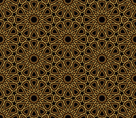 islamic: Arabesque Black  Gold Pattern, Dark Background, Vector Illustration