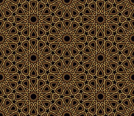 arabesco: Arabesque Patrón Oro Negro, fondo oscuro, ilustración vectorial Vectores