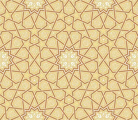 patterns vector: Arabesque Star Ornament Brown background, Vector Illustration Illustration