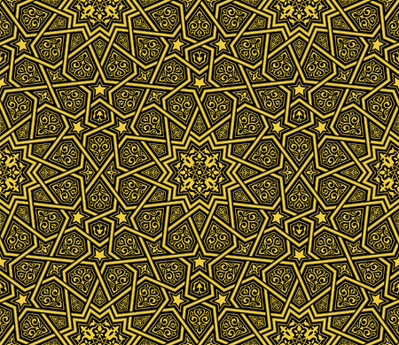 Islamic ornament golden  black background, vector illustration 向量圖像